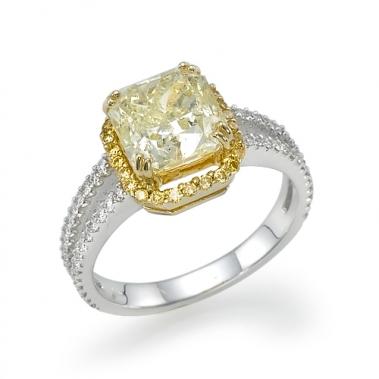 טבעת יהלום צהוב- Yellow Radiant Ring