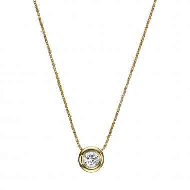תליון יהלום עגול- Roundy Bezel Diamond Pendant 0.27
