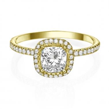טבעת אירוסין בעיצוב מיוחד - Cushion Halo Lace