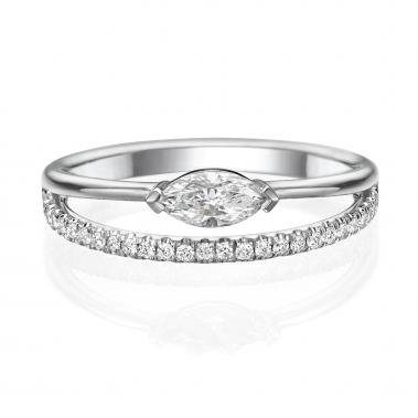 טבעת יהלומים מעוצבת מרקיזה- Double line Marquise