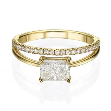 טבעת בעיצוב מיוחד- Double line Cushion