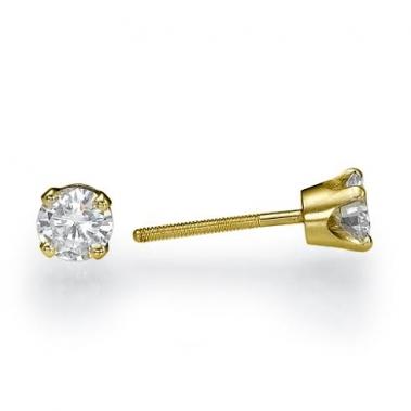 עגילי יהלומים צמודים לילדות - Crown 0.26