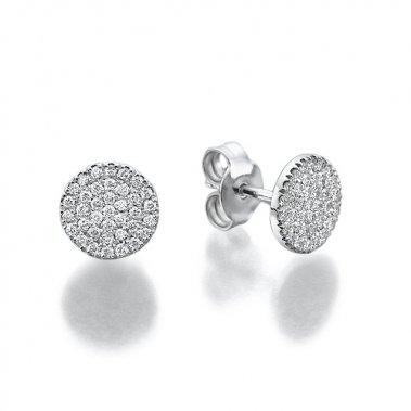 עגילי יהלומים עגולים בשיבוץ