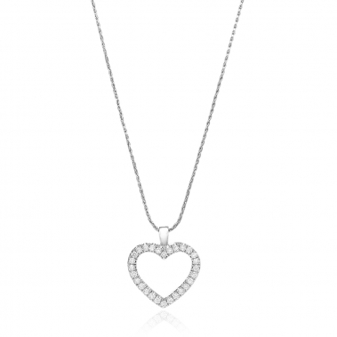 תליון יהלומים לב- Pure Heart and Rack diamonds pendant