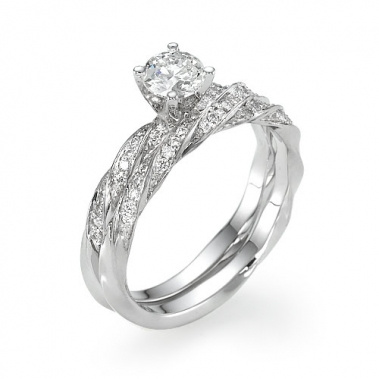 טבעת יהלומים מסולסלת עם חישוק תואם- Commitment