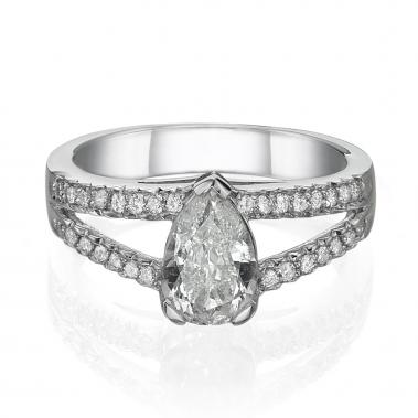 טבעת יהלומים טיפה- Double Line Pear