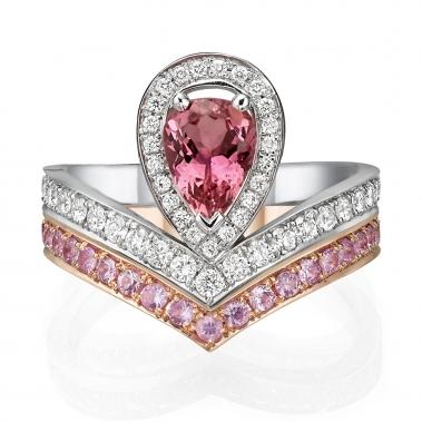 צמד טבעות יהלומים וספירים יוקרתי- Royal V Pear