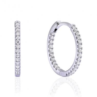 עגילי חישוק יהלומים- Diamonds Hoops 2cm