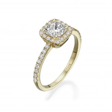 טבעת אירוסין- Cushion Halo Design